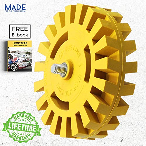 (Decal Removal Eraser Wheel Tool with Drill Adapter 4 inch Rubber Power Drill Attachment For Removing Pinstripes, Stickers, Adhesive Vinyl Decals from Cars, Rvs, Boats and More, Pinstripe, Double Side)