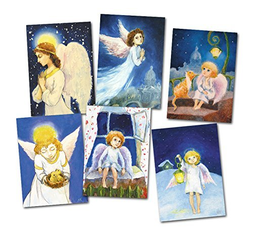 Christmas angel greeting card Set 6 postcards