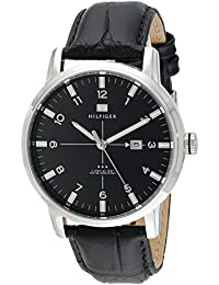 Mens 1710330 Stainless Steel Watch with Black Genuine Leather Band