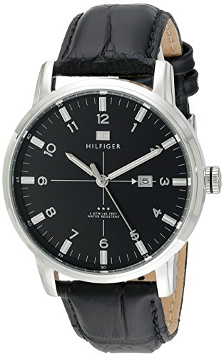 Tommy Hilfiger Mens 1710330 Stainless Steel Watch with Black Genuine Leather Band