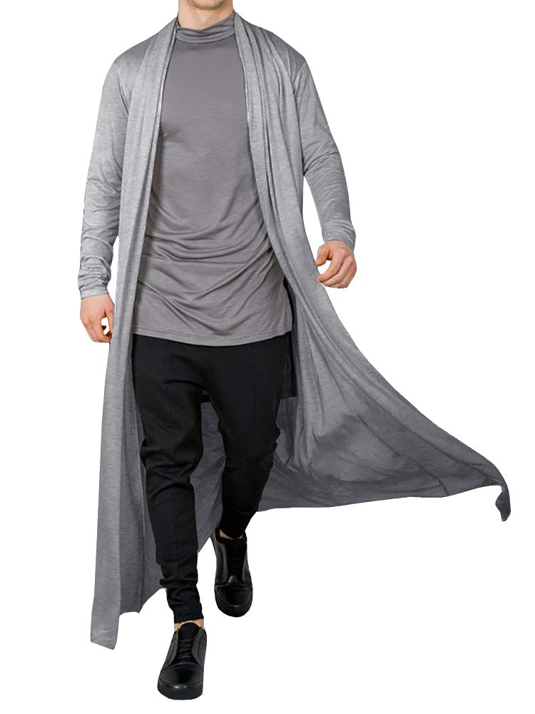 Men's Ruffle Shawl Collar Cardigan Open Front Outwear Long Cape Poncho Trench Coat (Grey, Medium) by PASLTER