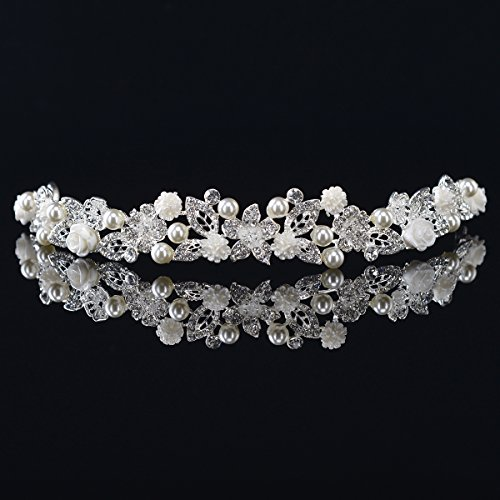 Vintage Bridal Headpieces - Remedios Vintage Pearl Rhinestone Wedding Headband Bridal Tiara Headpiece