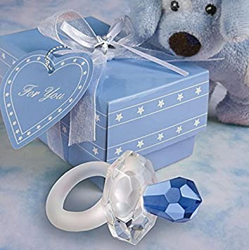 Amazon.com: vidrio azul Chupete para Baby Shower, Set de 36 ...