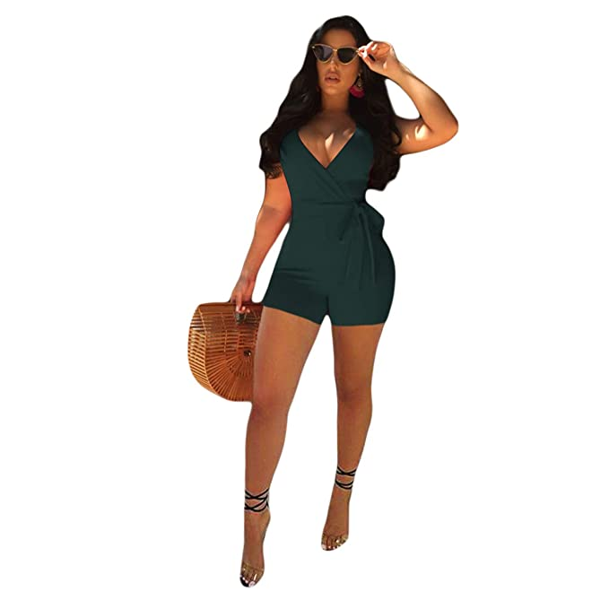 2e336d4fb0f Amazon.com  Women Deep V-Neck Criss Cross Jumpsuit Strap Sleeveless  Backless Romper Shorts Casual Plus Size with Belt  Clothing