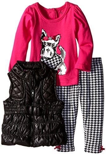 Nannette Baby Girls' 3 Piece Nylon Vest Set with Screen Print Pullover, (Nylon Print Vest)
