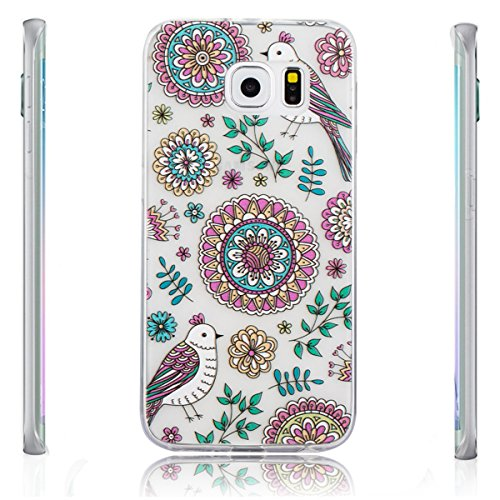 Galaxy S6 Edge Case, iRonsnow(TM) Ultra Thin Clear Art Pattern Crystal Gel TPU Rubber Flexible Slim Skin Soft Case for Samsung Galaxy S6 Edge -Retail Package (Design 10)