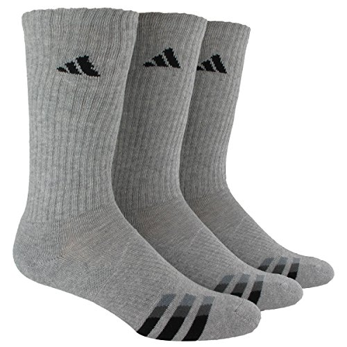 adidas Men's Cushion Crew Socks (Pack of 3), Heathered Light Onix/Black/Granite/Tech Grey, One Size 3 Pack Crew Socks