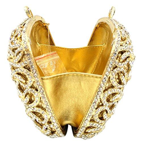 Bourse Maquillage Sac gold Main à Fête Chaîne Mariage Pochette Sac Femme Clutch Bal pour soiree Bandouliere qHxSBH