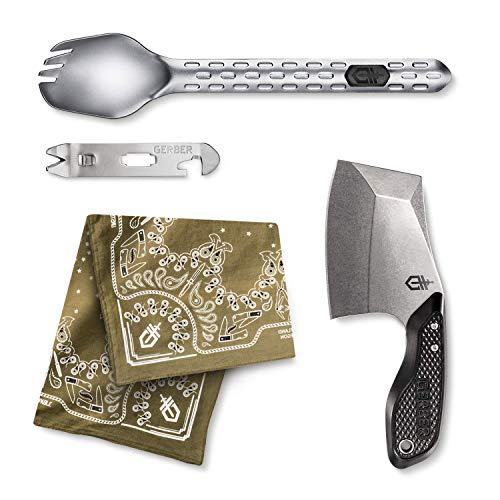 Gerber 3 Piece Cleaver, Multi-Fork, and Sage Bandana Combo Kit