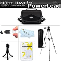 Must Have Accessories Bundle Kit For PowerLead Puto PLD078, PLD009, PLD003, PLD010, PLD002, PLD001, PL301, CAM06, PL-C05, Dcam PL-C10, Dcam PL-C20 HD, Besteker Video Camcorder Includes Case + Tripod +