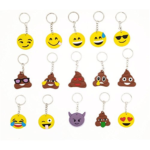 (15)Set Of Emoji Mini Keychain ,Pop Toy Decorations For Kids Birthday Party,Christmas, Halloween Parties,Easy Installation Charms with Durable Hook Clip For Bag, Car (Halloween Gift Bags Wholesale)