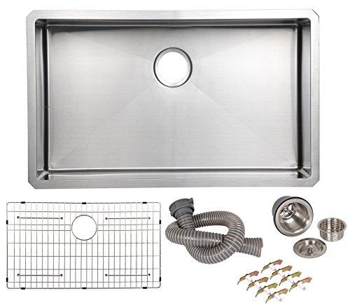 AECOJOY 32 inch Handmade Single Bowl Undermount 16 Gauge Kitchen Stainless Steel Sink With Bottom Grid