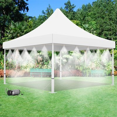 Mistcooling Tent with Pump and Tank - 160 PSI Mist Pump and 15 Gallon Tank with 20 Nozzle Mister - 10' x 10' Tent - For Outdoor Events Cooling (White)