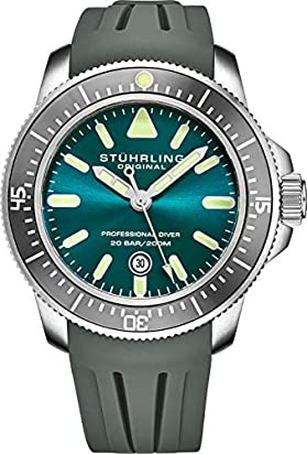 Stuhrling Original Mens Watch Blue Analog Watch Dial, Pro Sport Diver with Screw Down Crown and Water Resistant to 200M, Japanese Quartz Movement - Maritimer Watches for Men Collection