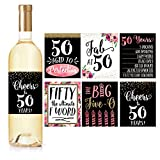 6 50th Birthday Wine Bottle Labels or Stickers Present, 1968 Bday Milestone Gifts For Her Women, Cheers to 50 Years, Funny Fifty Pink Black Gold Party Decorations Supplies For Friend, Wife, Girl, Mom