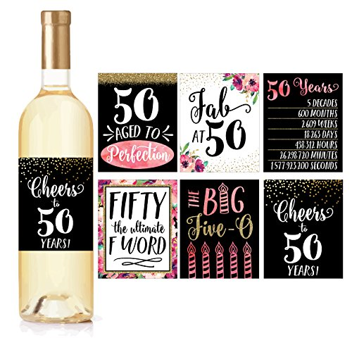 (6 50th Birthday Wine Bottle Labels or Stickers Present, 1968 Bday Milestone Gifts For Her Women, Cheers to 50 Years, Funny Fifty Pink Black Gold Party Decorations Supplies For Friend,)