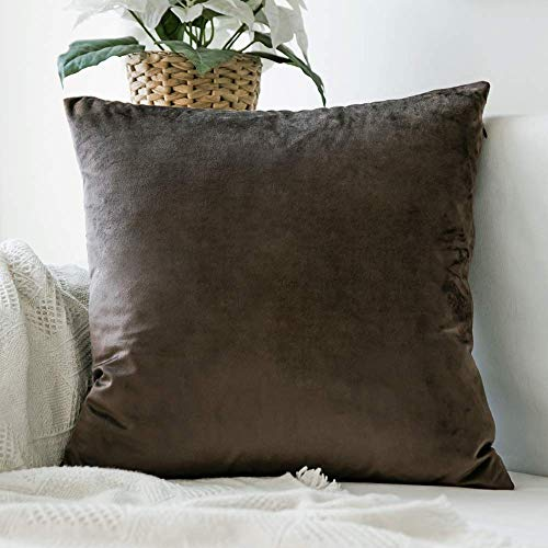 MIULEE Velvet Pillow Covers Decorative Square Pillowcase Soft Soild Taupe Cushion Case for Sofa Bedroom Car 26 x 26 Inch 66 x 66 cm ()
