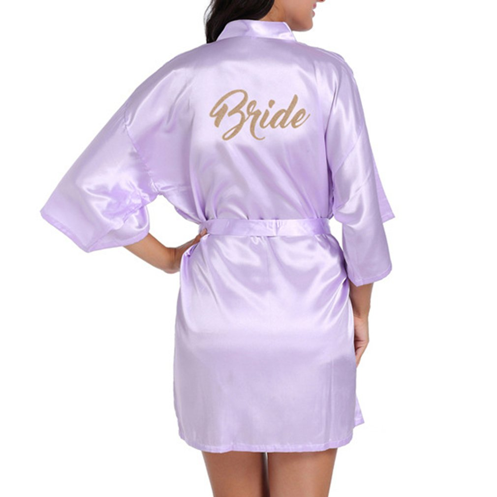 yunhou Abito da Notte per Donne Raso Satin Rayon Accappatoio Camicia da Notte per Donne Kimono Sleepwear Wedding Bride Robe con Cintura