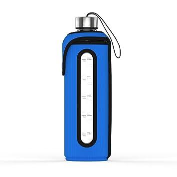 Botella de agua, cristal, 1 L, con funda aislante, tapa de acero ...