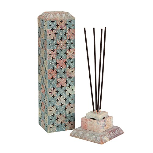 ArtistZila Decorative Chess Hand Carved Soapstone Square Incense and Candle Holder in Floral Jali Work For Home Decor / Gift (Beige, 8x8x28 cm Approx.) by ArtistZila