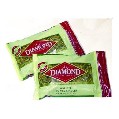 Diamond Walnut Halve and Pieces, 2 Pound Visibility Bag - 12 per case.