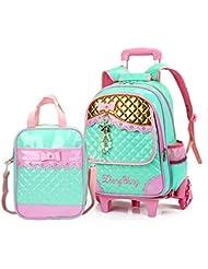 Meetbelify Rolling Backpacks For Girls School Bags Trolley Handbag With Lunch Bag