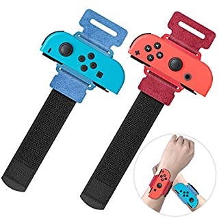 Upgraded Wrist Bands for Just Dance 2020 Nintendo Switch, YUANHOT Adjustable Elastic Dance Straps for Switch Joy-Con Controllers, 2 Pack for Kids and Adults - Red/Blue