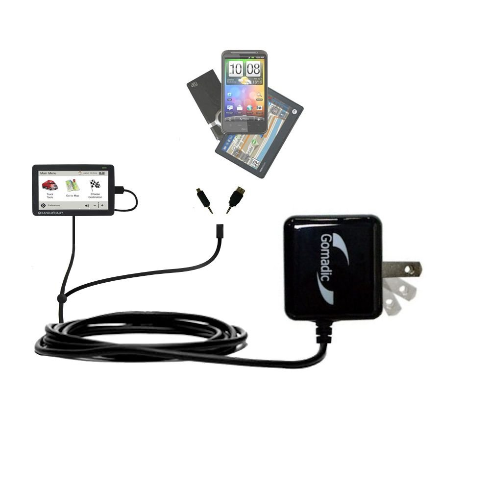 Gomadic Multi Port AC Home Wall Charger designed for the Rand McNally IntelliRoute TND 530 - Uses TipExchange to charge up to two devices at once