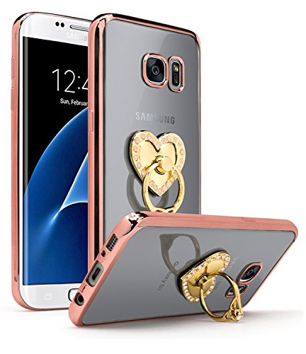 Samsung Galaxy S7 Edge Case, Bastex Slim Fit Clear Plastic TPU Rose Gold Bumper Case Cover with Bling Heart Pink Ring Holder Kickstand for Samsung Galaxy S7 Edge G936 (Case Kickstand Pink)