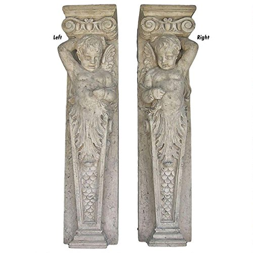 (Design Toscano Fontainebleau Winged Cherub Architectural Pilaster Sculptures: Set of Two)
