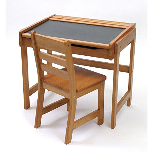 Best Selling Most Popular Childs Kids Toddlers Solid Wood Pecan Finish Work Activity Art Writing Drawing Storage Organizer Desk Chair Furniture Set- Perfect For Young Artists Creative Minds All Ages by Skipper World Products