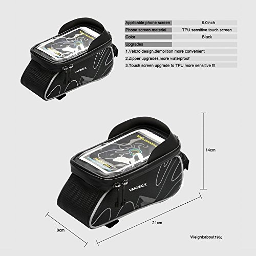 VANWALK In Frame Bike Bag with Waterproof Touch Screen Phone Case for iPhone X 8 7 6s 6 plus 5s 5 / Samsung Galaxy s7 s6 note 7 Cellphone Below 6.0 Inch + Rain Cover