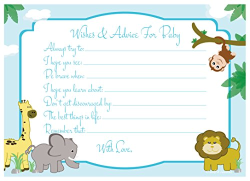 Jungle Safari Wishes and Advice for Baby Cards - Baby Shower Activity/Game (50 (Baby Shower Safari Games)