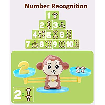 Onnetila Monkey Balance Cool Math Games for Boys and Girls - Fun, Educational Children's Gift & Kids Toy - Preschool Kindergarten STEM Learning Toys for 3 4 5 Years Old (65 Piece): Toys & Games