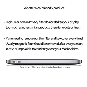 "15.4"" New MacBook Pro Touch Bar 2016/2017/2018 Privacy Screen Protector with GIFT Keyboard Cover ultra-thin TPU case skin. Easy Removal Anti Spy Filter Made of Premium Korean Materials by Homy"