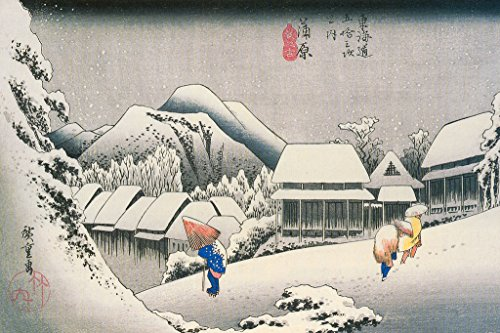 Utagawa Hiroshige Evening Snow at Kanbara Art Print Poster 18x12 inch