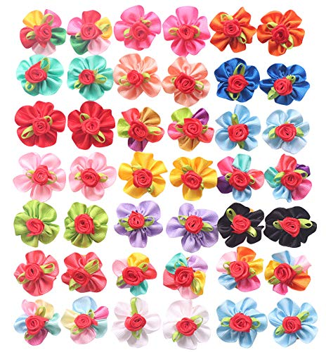 Diy Halloween Hair Bows (YAKA 40pcs/(20pairs) Hot Cute Small Dog Hair Bows Topknot Small Bowknot with Rubber Bands Pet Grooming Products Pet Hair Bows Hair Accessories 20 Colors (Round)