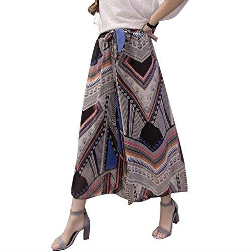 Mousseline Filles Jupe Culotte Ceinture Soie Large Élégant D'été Fleur En Motif Avec Loisirs Geometrie Vêtements De Palazzo Mode Haute Pantalon Femme Taille 4qXCwZq