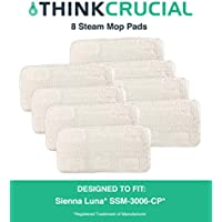 8 Replacements for Sienna Luna Steamer Head Mop Pads Fit SSM-3006-CP, Washable & Reusable, by Think Crucial