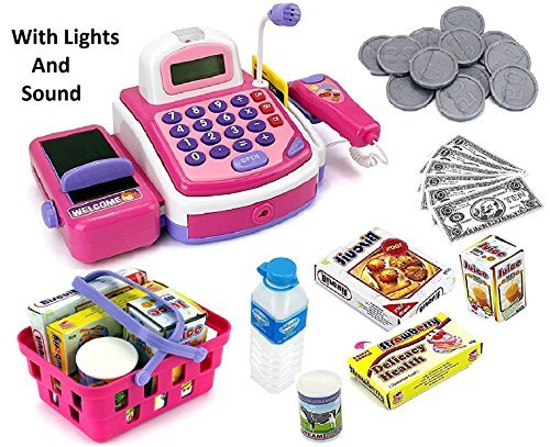 Prextex Pretend Play Electronic Toy Cash Register With Mic Speaker And Play...