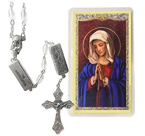 Elysian Gift Shop Crystal Clear White Catholic Mystery Beads Rosary 7mm Molded Crystal Beads The Rosary Mysteries are Engraved on The Divider Bars