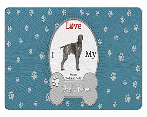 (BRGiftShop Personalized Custom I Love My Dog German Shorthaired Pointer 11x15 Glass Cutting Board)