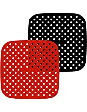 Runtodo 2-pack återanvändbara luftfritös-foder, fyrkantiga, non-stick-silikon luftfritös korgmattor, luftfritös tillbehör – 7,5 tum