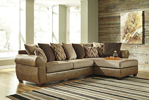 Ashley Furniture Signature Design - Declain Contemporary 2-Piece Sectional - Right Arm Facing Corner Chaise, Left Arm Facing Sofa - Sand (Right Facing Sofa Corner)