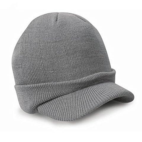Voberry® Men's Stylish Knit Visor Brim Beanie Hats Knitted Skull Ski Caps (Gray)