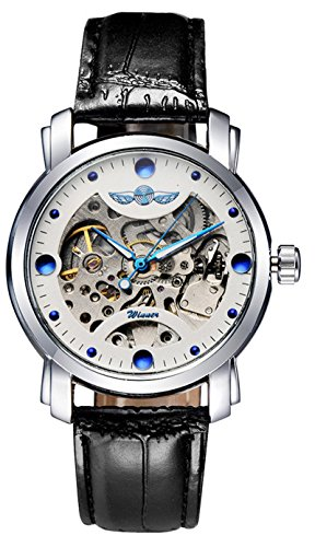 Men Original Skeleton Dress Analog Watch Stainless Steel Leather Strap Automatic Mechanical Wristwatch (Black White)