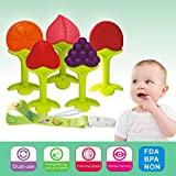 Baby Teething Toys BPA Free Soft Silicone Baby Fruit Teethers Toys with Pacifier Clip/Holder Non-Toxic, Soft, Durable and Freezer teether for Boys & Girls Infant and Toddler(5 Pack)