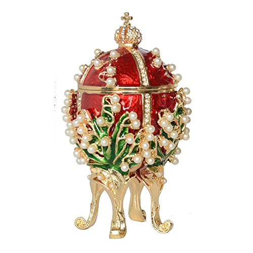 Russian Faberge Style Egg Crystal Jeweled Trinket Jewelry Ring Holder Box (Easter Egg#4)