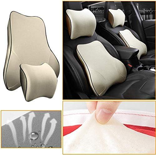 Muchkey Car Lumbar Support Back Cushion & Headrest Neck Pillow Kit Cushion Memory Foam Erognomic DesignBack Pain Relief for KIA K2 K3 K4 K5 K7 K9 Sportage-R VQ Forte Picanto Rio(Beige)
