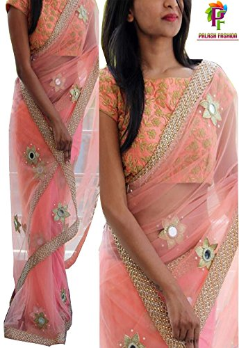 Palash fashion's Royal Looking Pink Color Net Fancy Designer Saree